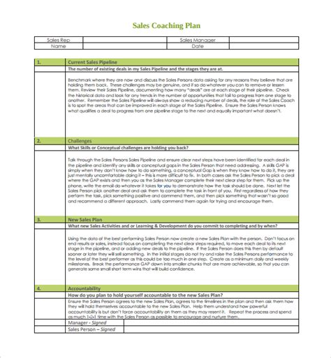 Sales Coaching Template 9 Coaching Plan Templates Pdf Word Pages Sle Templates
