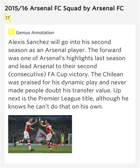arsenal meaning 17 2015 16 arsenal fc squad meaning