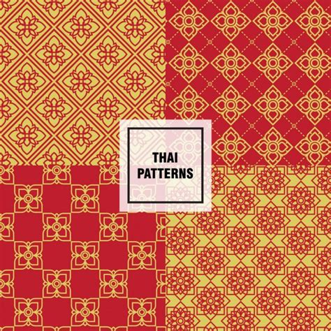 thai pattern ai yellow and red thai patterns vector free download