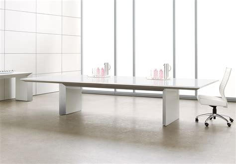white glass conference table ambience dor 233
