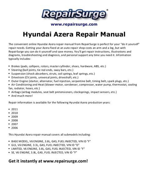 online auto repair manual 2009 hyundai azera parking system hyundai azera repair manual 2006 2011