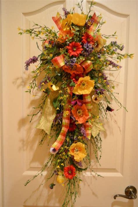colorful spring door swag  kristenscreations  etsy