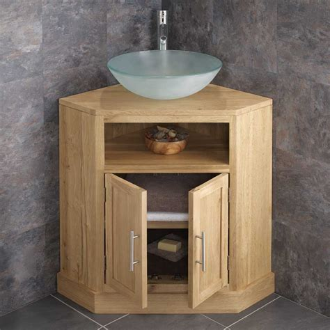 Corner Basin Cabinet by Solid Oak Door Freestanding Corner Bathroom Cabinet