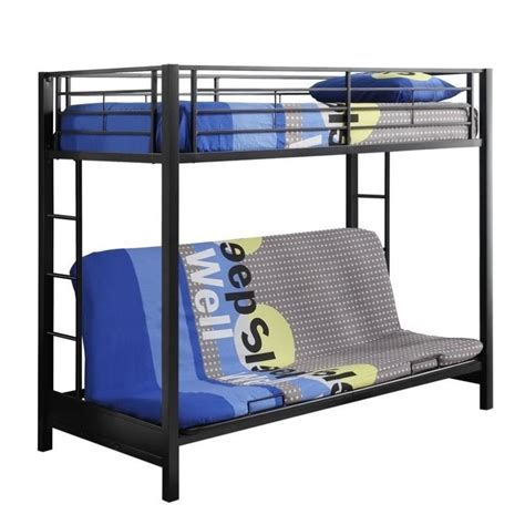 metal frame bunk bed with futon walker edison sunset metal twin over futon bunk bed frame
