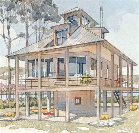 raised home plans tidewater cottage house plans raised low country house