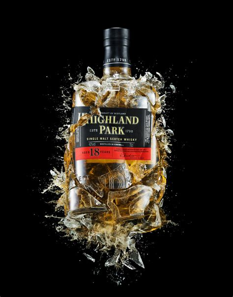 whiskey photography exploding highland park whisky bottle by magnus cramer