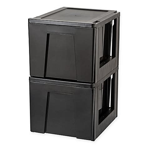 stacking bathroom storage drawers iris 174 premier stacking file storage drawer in black set