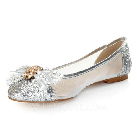 Silver Bowknot Flat Sandal Shoes Import real leather flat heel flats closed toe with rhinestone