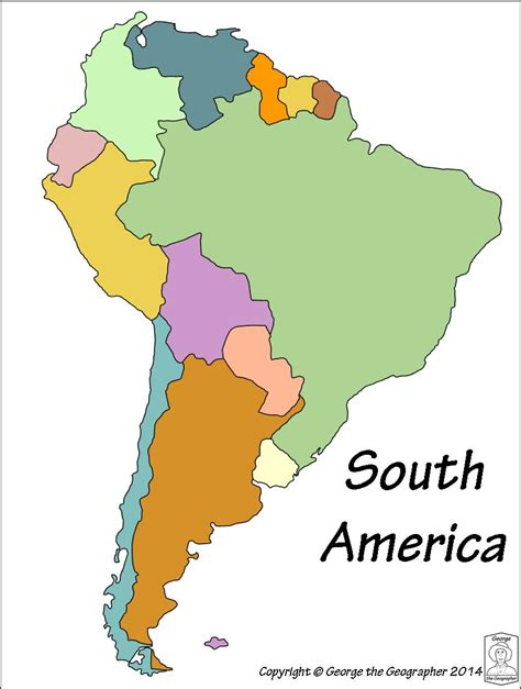 south america map with country names outline base maps
