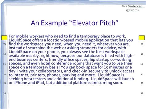 Sle Of Elevator Speech updated the elevator speech and investor pitch