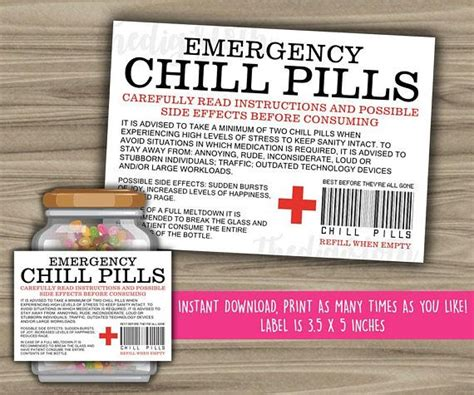 instant  printable file emergency chill pills
