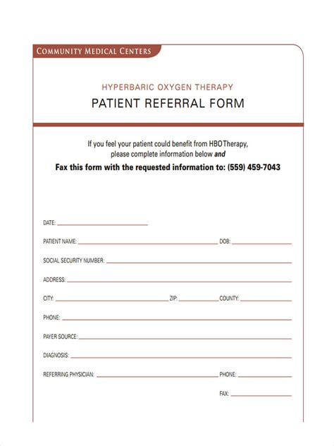 8 referral form sles free sle exle