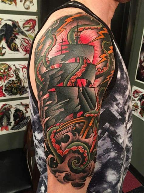 scott marshall tattoo really cool ship by marshall canvas