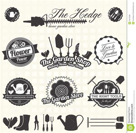 retro vintage style icon collection stock illustration vector set gardening lables royalty free stock photos