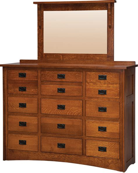 Daniel S Amish Bedroom Furniture Mission 15 Drawer Dresser With Low Medium Mirror By Daniel S Amish Collection House Of