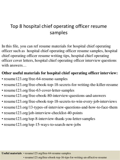 coo chief operating officer resume 28 images