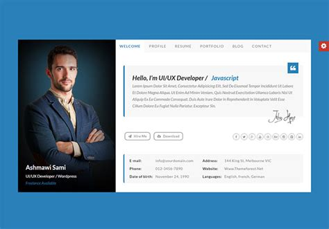 html templates for personal profile 20 best personal vcard resume html templates web