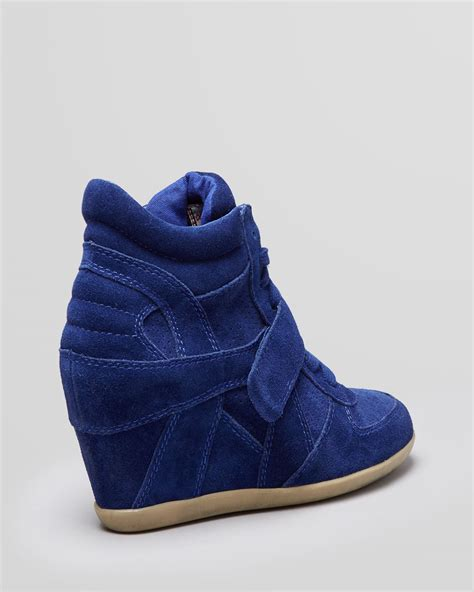 high top lace up sneakers ash lace up high top wedge sneakers bowie in blue lyst