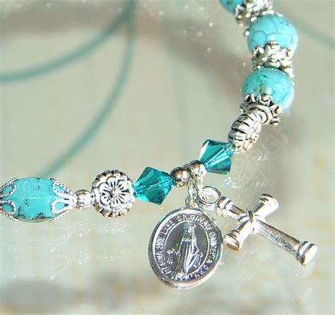 Handmade Rosary Bracelets - turquoise silver handmade rosary bracelet felt
