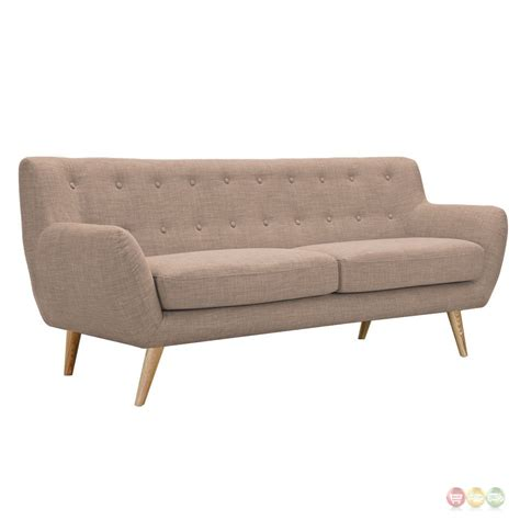 Ida Modern Beige Button Tufted Upholstered Sofa With Tufted Upholstered Sofa