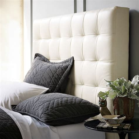 white leather tufted headboard tall grid tufted leather headboard