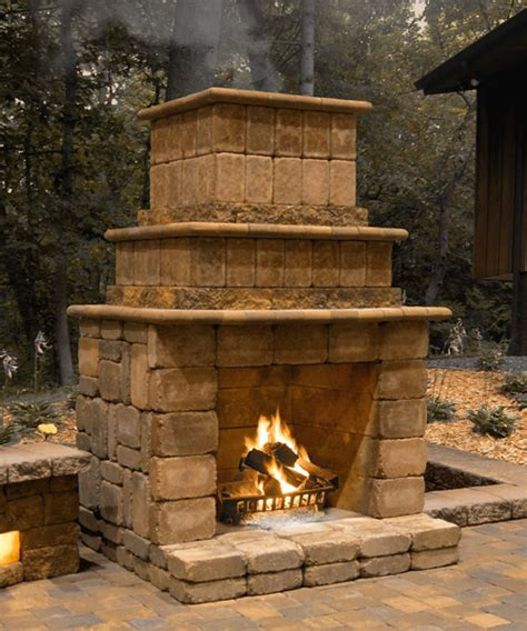 rock outdoor fireplaces patio town