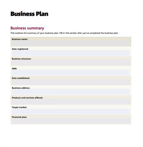 printable business plan template business plan templates 8 sles exles format