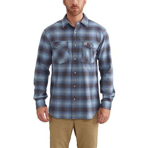 carhartt 102825 rugged flex hamilton plaid shirt carhartt s steel blue rugged flex hamilton snap front