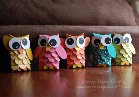 Paper Owls Crafts - math shape paper crafting ideas for owls