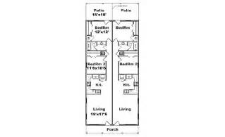 Narrow Apartment Floor Plans Fourplex Plan J1828 4 Plansource Inc