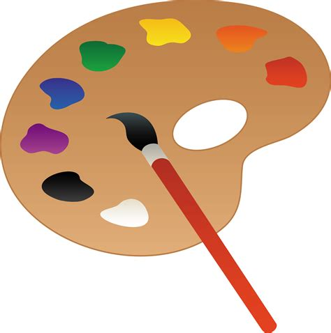 artists clipart artists palette with paint and brush free clip