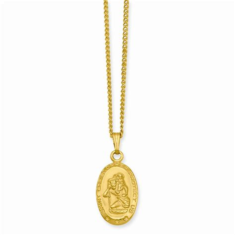 gold plated oval st christopher medal necklace