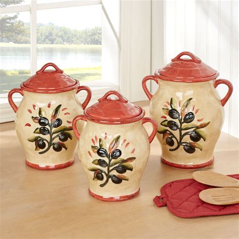 Umbria Set umbria olive italian themed kitchen canister set