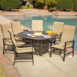 Outdoor Dining Set Pit Acadia 7 Sling Patio Pit Dining Set By Lakeview