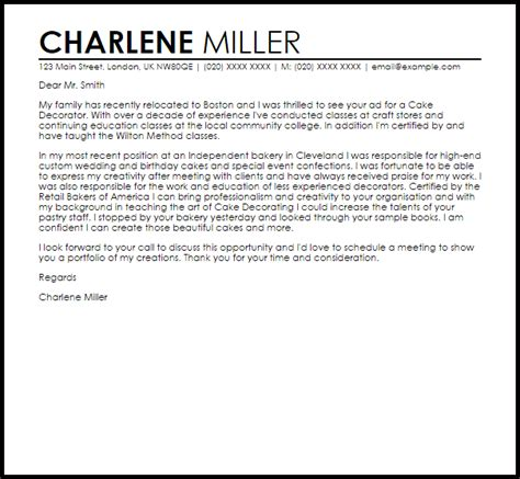 Decorator Cover Letters by Cake Decorator Cover Letter Sle Livecareer