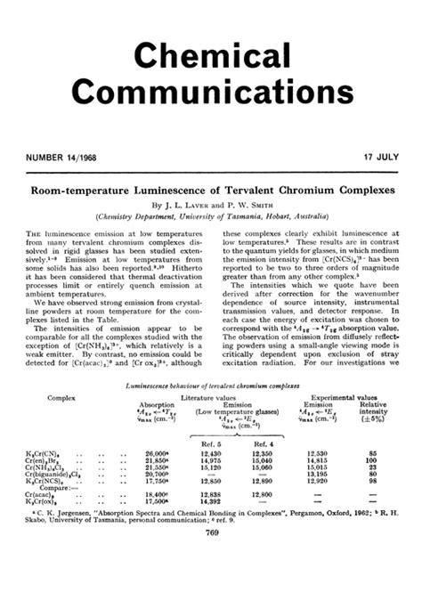 chromium at room temperature room temperature luminescence of tervalent chromium complexes chemical communications
