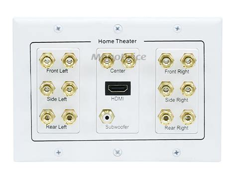 Home Theater E Lco 3 7 1 surround sound distribution wall plate w hdmi 174 monoprice