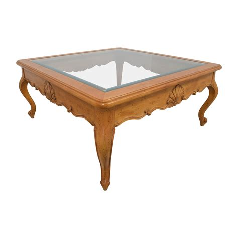 light wood coffee table 79 off scroll light wood glass coffee table tables