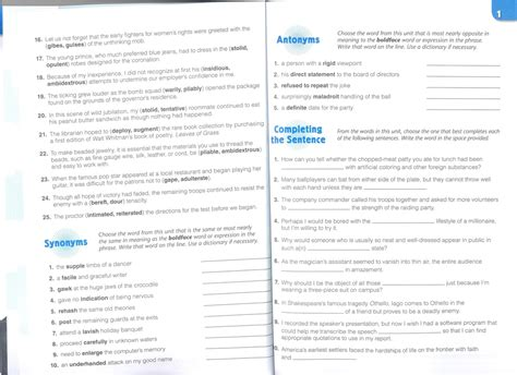 sadlier oxford vocabulary level e 1 3 unit review answers vocabulary workshop level e answers unit 1 vocabulary
