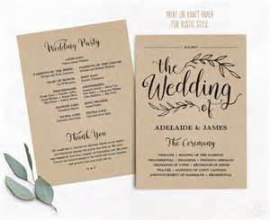 photo wedding programs printable wedding program wedding program template kraft