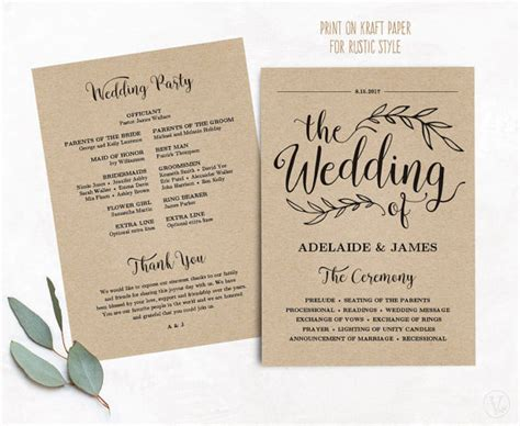 Hochzeit Programm by Printable Wedding Program Wedding Program Template Kraft