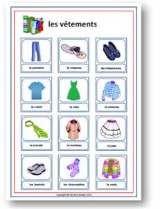 words of clothing french vocabulary poster french