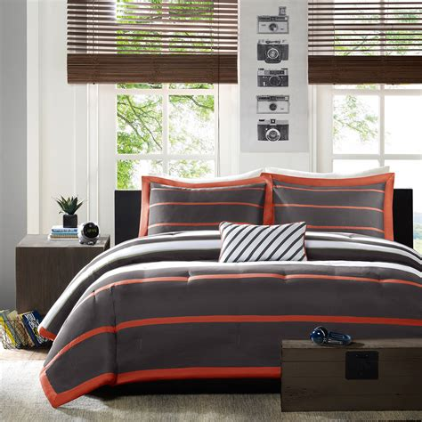 boy queen comforter sets orange grey striped teen boy bedding twin xl full queen