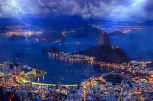 Bay Lights Wallpaper Brazil The Evening The City Of Rio De Janeiro