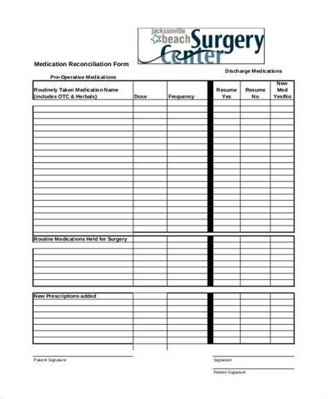 Sle Medical Form 20 Free Documents In Pdf Free Medication Reconciliation Template