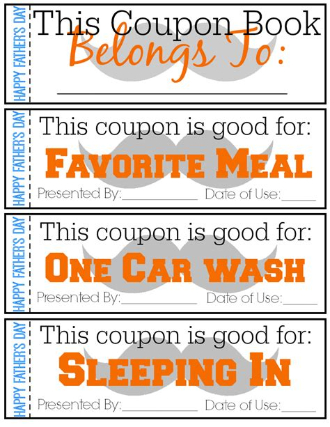 s day coupon book printable fathers day coupon book