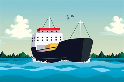 cartoon boat on the sea commercial boat in sea or ocean illustrations on