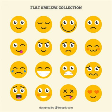 Flat Smile smileys collection in flat design free vectors