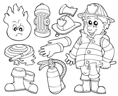 fireman coloring worksheet for kids school fire safety