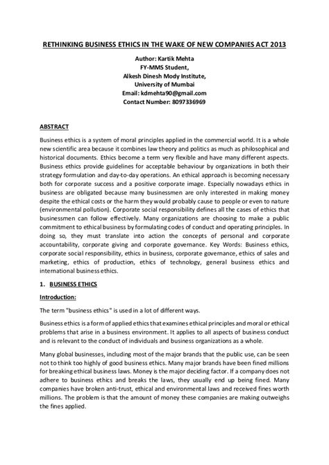 Paper Business - research paper rethinking business ethics in the of